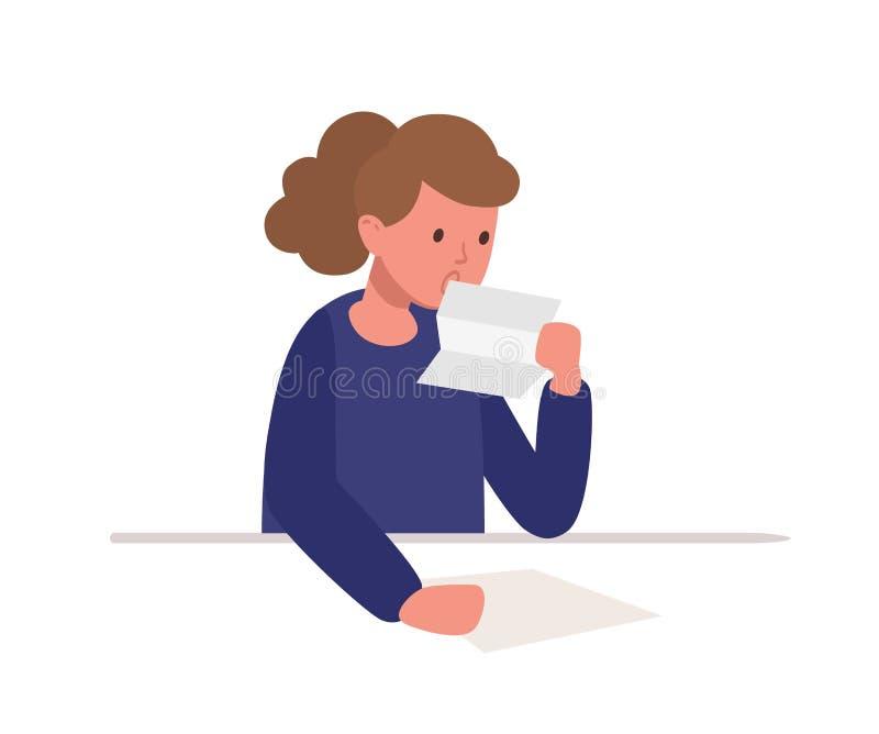 Ragazza sveglia che si siede allo scrittorio e che legge lettera isolata sul fondo bianco Scolara che studia duro, preparando per royalty illustrazione gratis