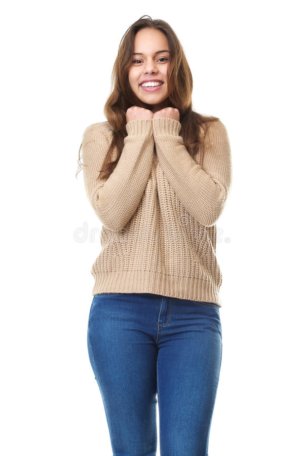 Ragazza sveglia che sorride in abbigliamento casual fotografie stock