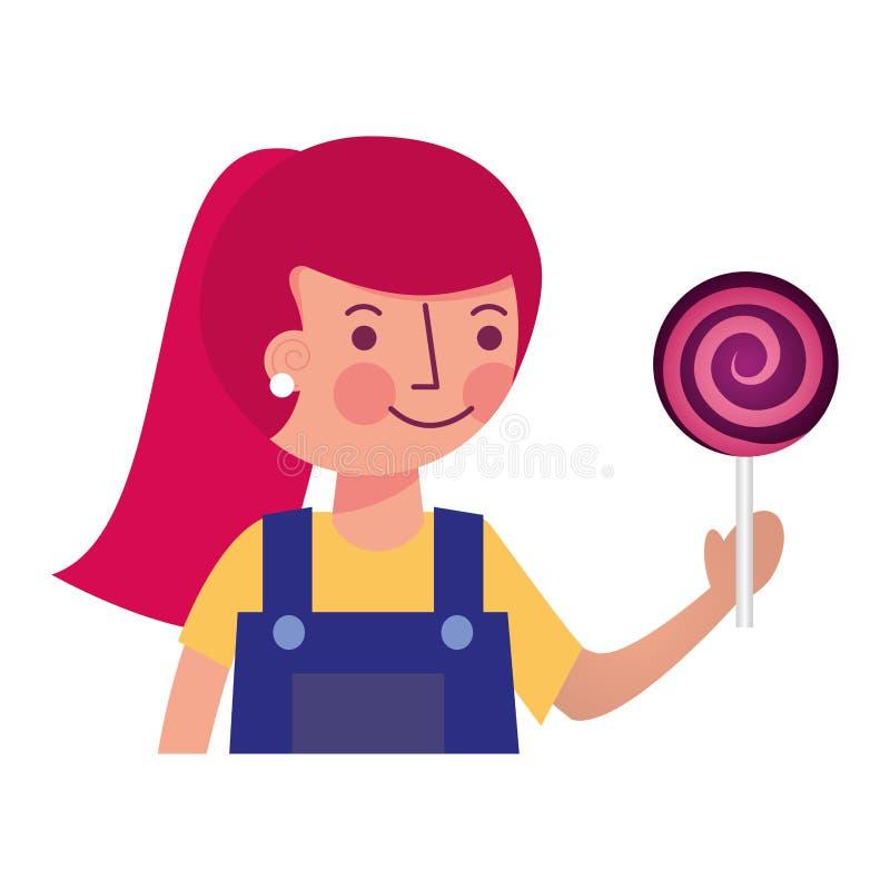 Ragazza sveglia che tiene lo spuntino dolce della lecca-lecca illustrazione di stock