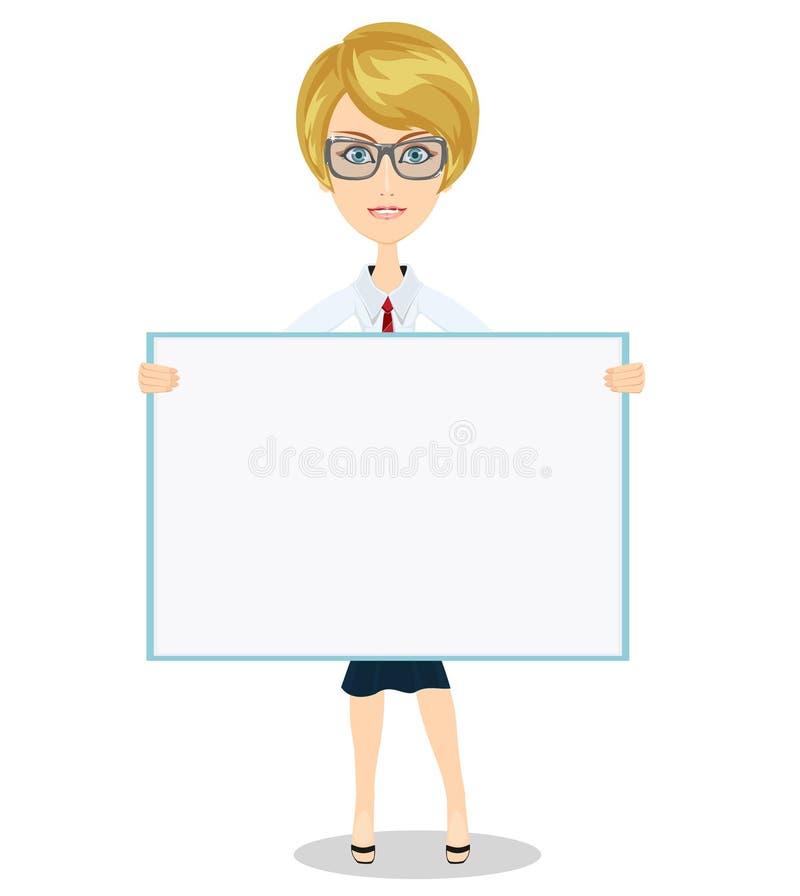 Ragazza sveglia che tiene una grande insegna in bianco per il vostro testo illustrazione vettoriale
