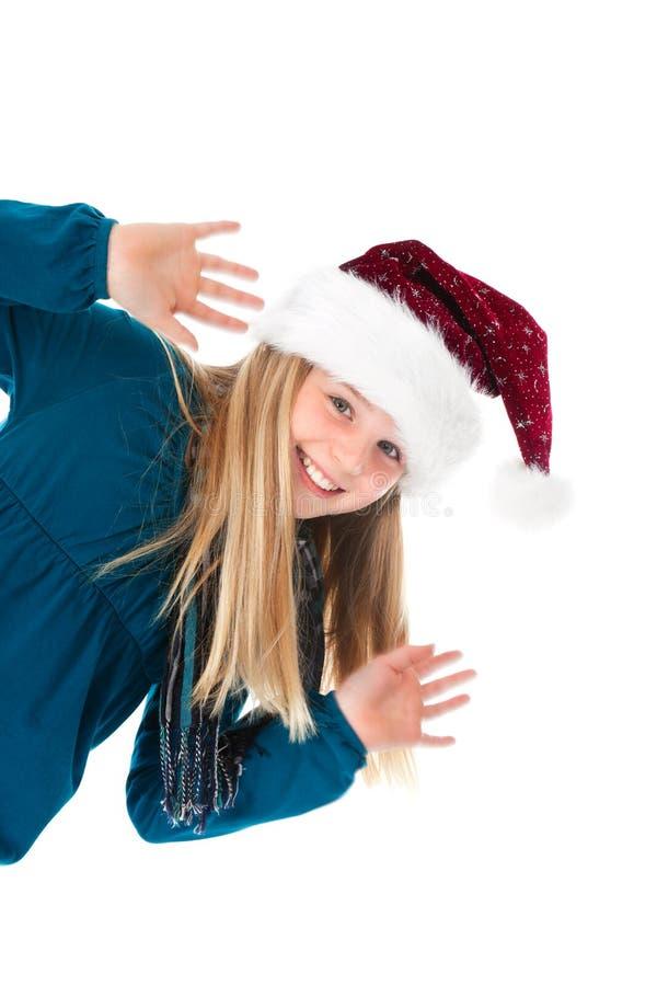 Download Ragazza Sveglia Con Il Cappello Della Santa Sull'ondeggiamento Bianco Fotografia Stock - Immagine di stagione, ciao: 21550206