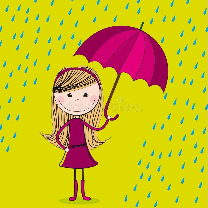 Ragazza sveglia con l'ombrello illustrazione di stock