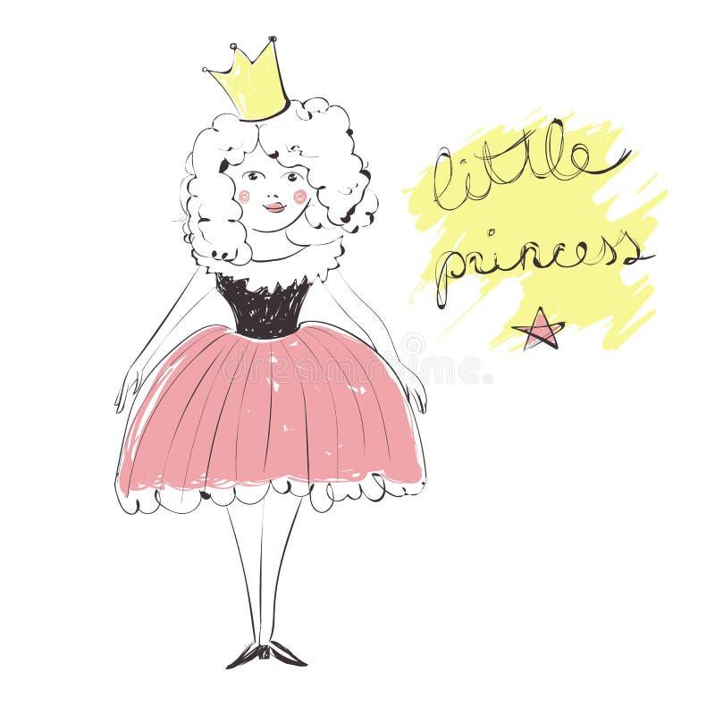 Ragazza sveglia con una corona in un'illustrazione rosa del vestito, principessa del testo scritto della mano piccola illustrazione di stock