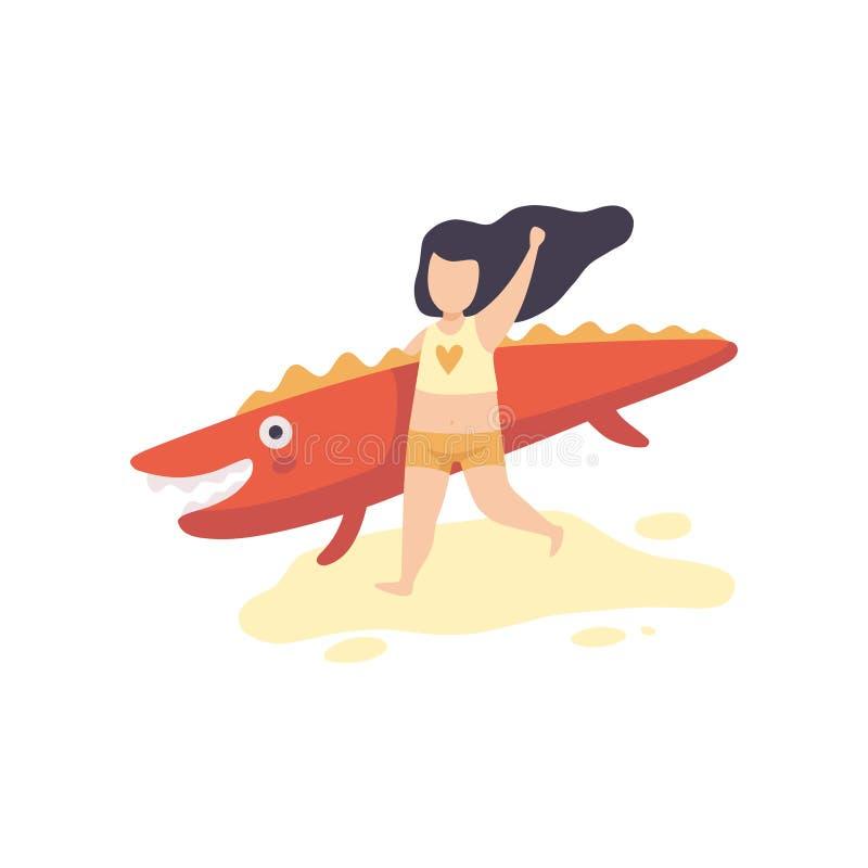 Ragazza sveglia in costume da bagno che corre con il coccodrillo gonfiabile, bambino divertendosi sulla spiaggia sull'illustrazio royalty illustrazione gratis