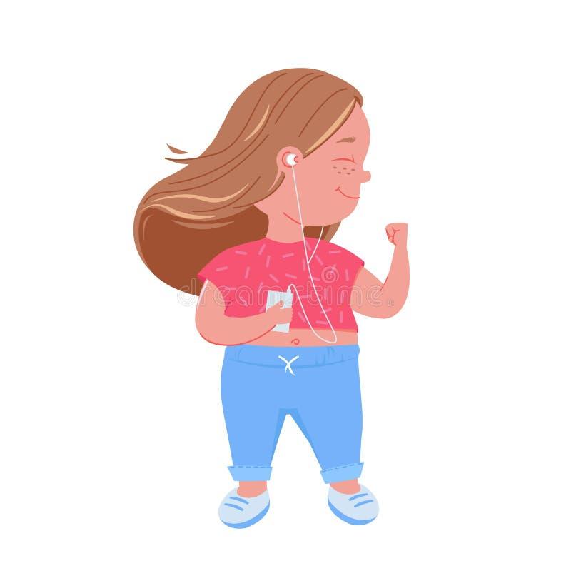 Ragazza sveglia del bambino ascoltare musica Ballare felice con il riproduttore mp3 illustrazione vettoriale