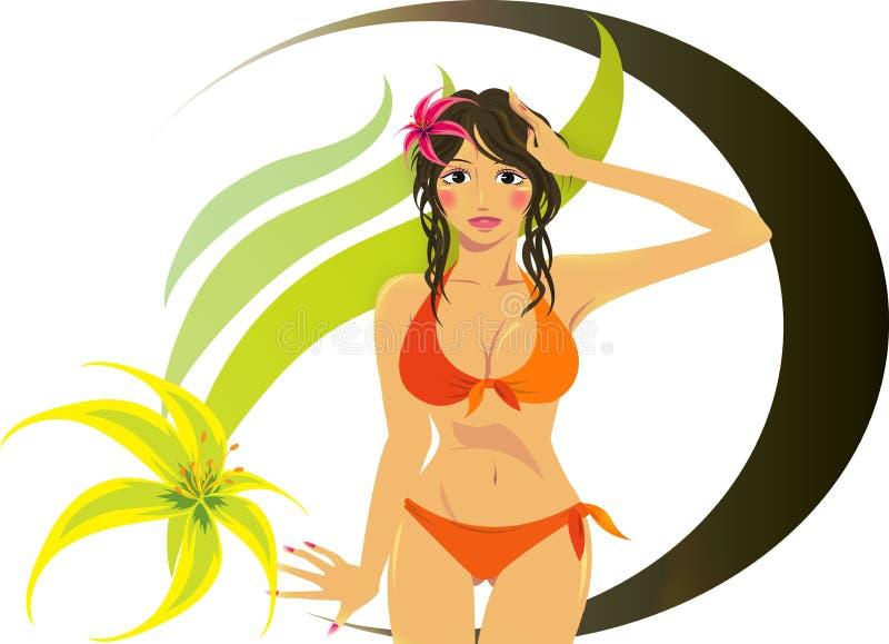 Ragazza sveglia del bikini illustrazione vettoriale