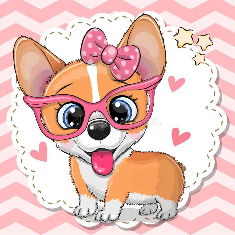 Ragazza sveglia del cane del Corgi in occhiali rosa illustrazione vettoriale