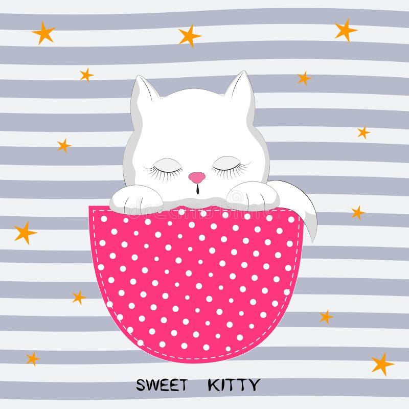 Ragazza sveglia del gatto nella tasca Cartolina d'auguri illustrazione di stock
