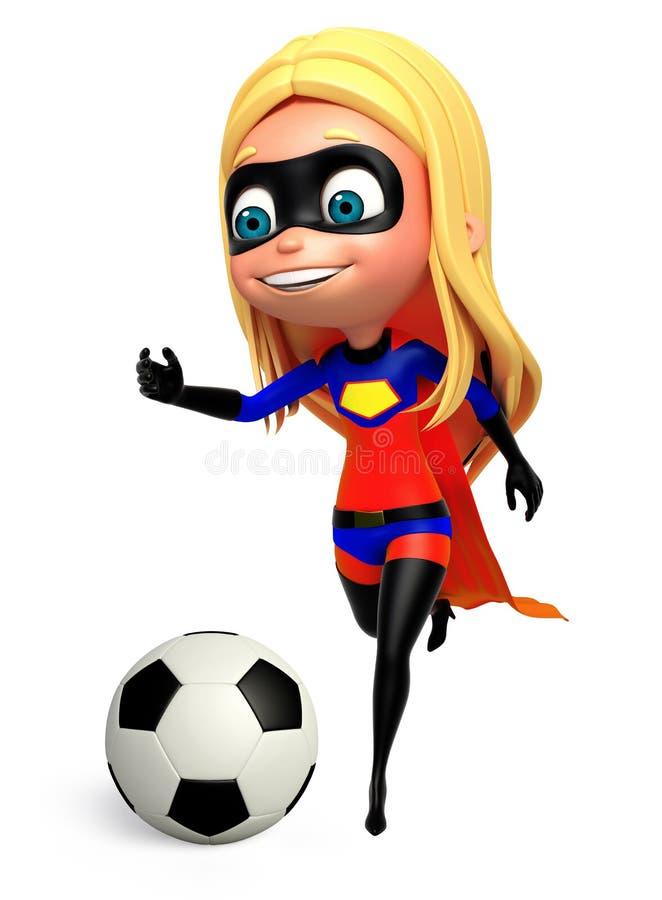 ragazza sveglia del ragazzo come supergirl con calcio illustrazione di stock