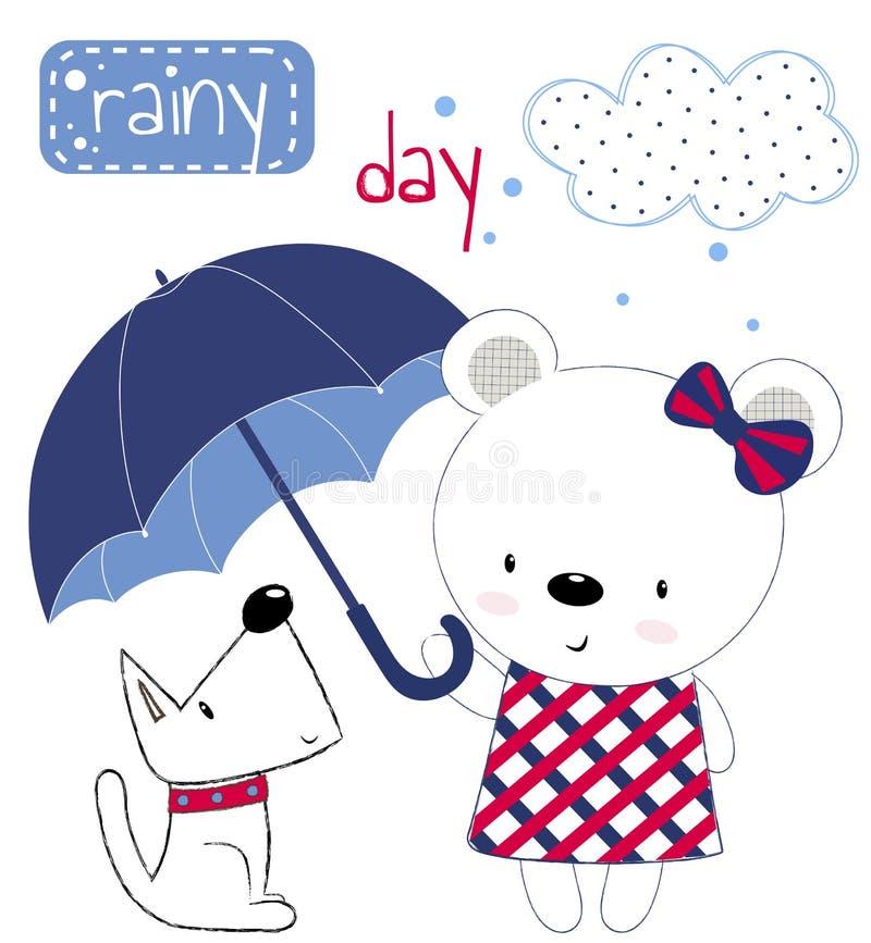 Ragazza sveglia dell'orsacchiotto con l'ombrello ed il cucciolo La stampa per i bambini, manifesto, l'abbigliamento dei bambini,  illustrazione vettoriale
