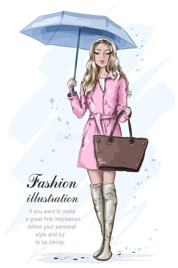 Ragazza sveglia di modo con l'ombrello Bella donna alla moda in vestiti di modo Modello di modo disegnato a mano abbozzo illustrazione di stock