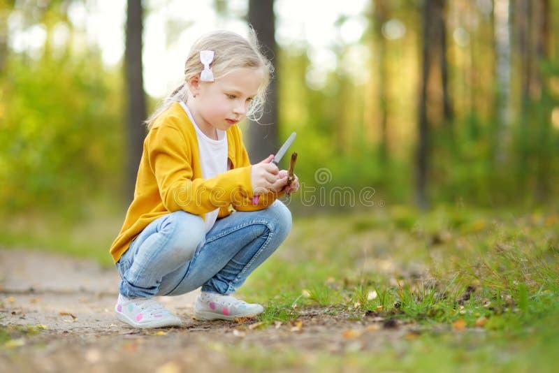 Ragazza sveglia divertendosi durante l'aumento della foresta il bello giorno di estate Natura d'esplorazione del bambino immagini stock