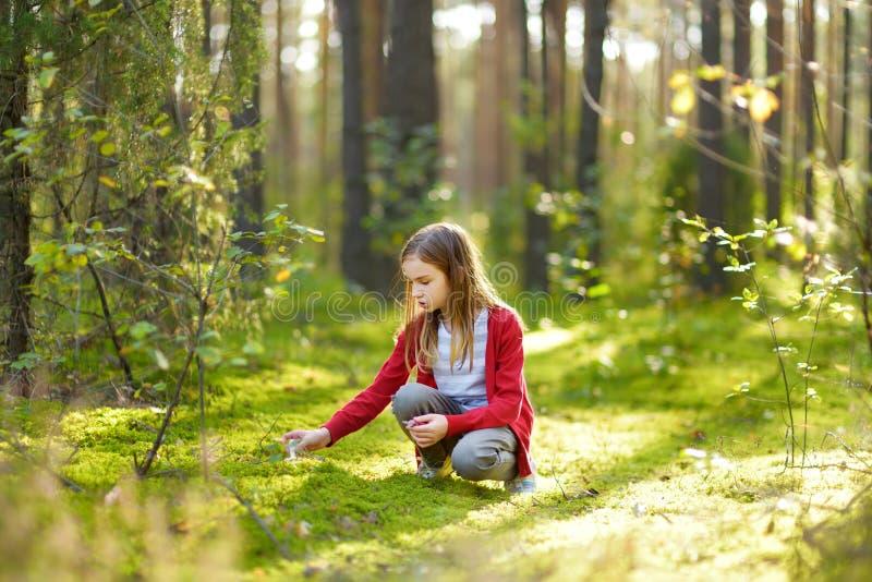 Ragazza sveglia divertendosi durante l'aumento della foresta il bello giorno di estate Natura d'esplorazione del bambino fotografie stock libere da diritti