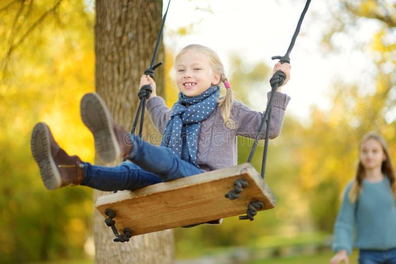 Ragazza sveglia divertendosi su un'oscillazione nel parco soleggiato di autunno Fine settimana della famiglia in una città immagini stock libere da diritti