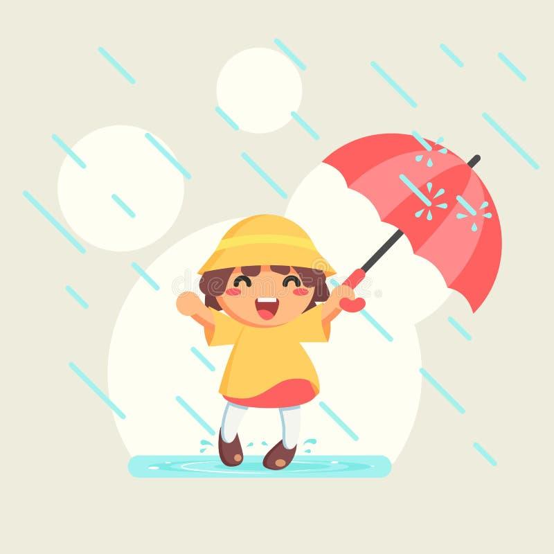 Ragazza sveglia felice in impermeabile con l'ombrello nella stagione delle pioggie di autunno, illustrazione fotografia stock