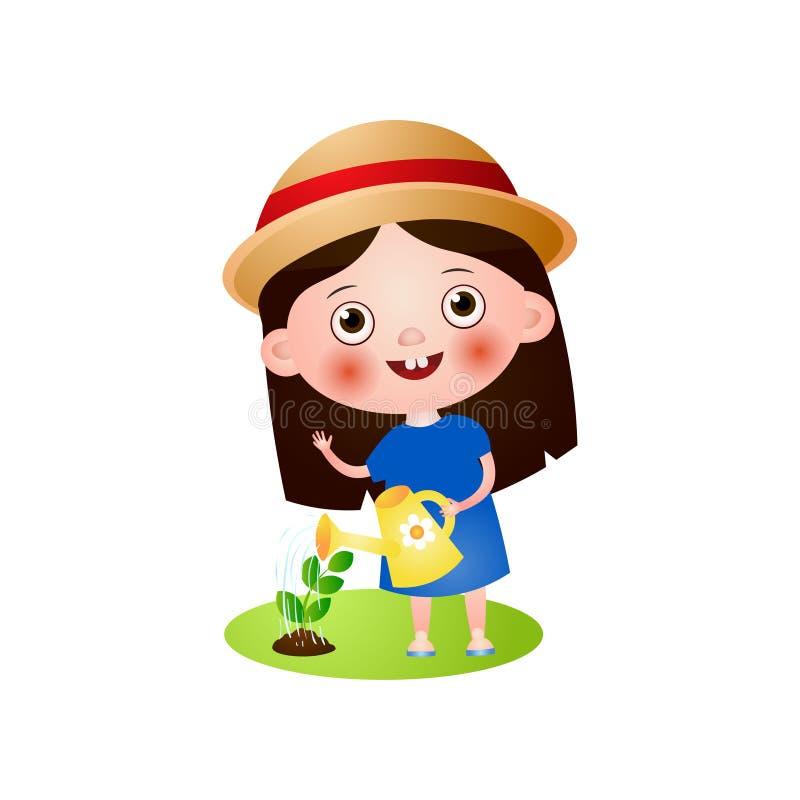 Ragazza sveglia sorridente felice in annaffiatoio di uso del cappello di estate illustrazione di stock