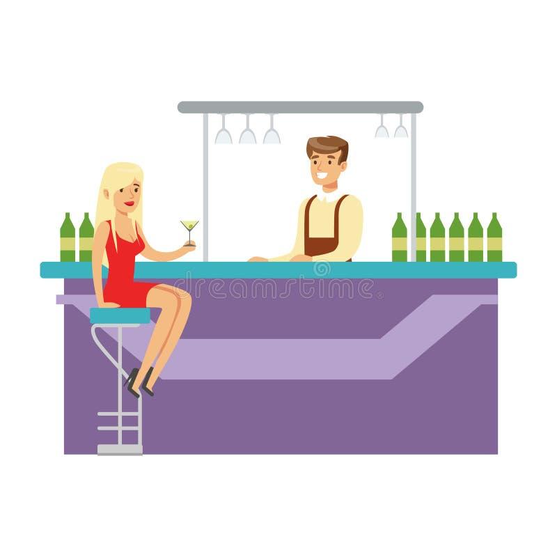 Ragazza sveglia in vestito rosso che beve da solo ad Antivari con il barista, parte della gente alla serie del night-club di vett illustrazione di stock