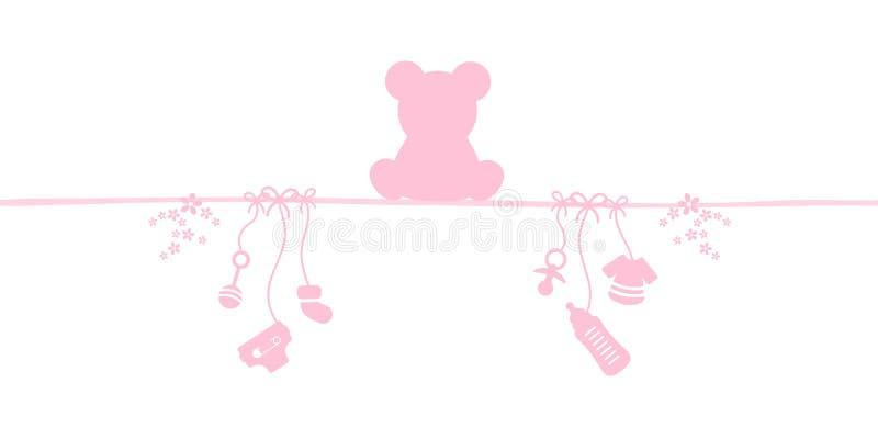 Ragazza Teddy And Icons Pink della carta del bambino illustrazione vettoriale