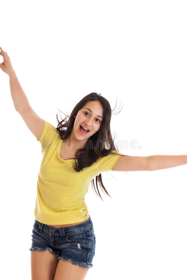 Ragazza teenager ballante fotografie stock libere da diritti