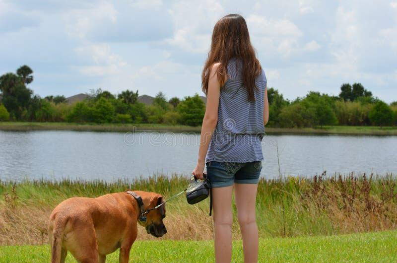 Ragazza teenager con il cane immagine stock