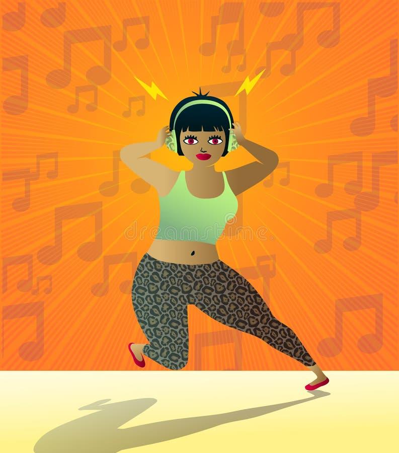 Ragazza teenager sveglia che ascolta la musica con le cuffie illustrazione vettoriale
