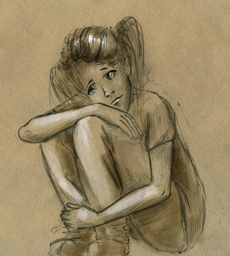 Ragazza teenager triste illustrazione di stock