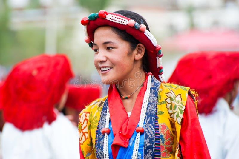 Ragazza tibetana, danzatore di piega fotografia stock libera da diritti