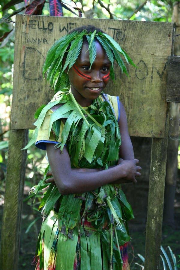 Ragazza tribale del villaggio del Vanuatu immagine stock