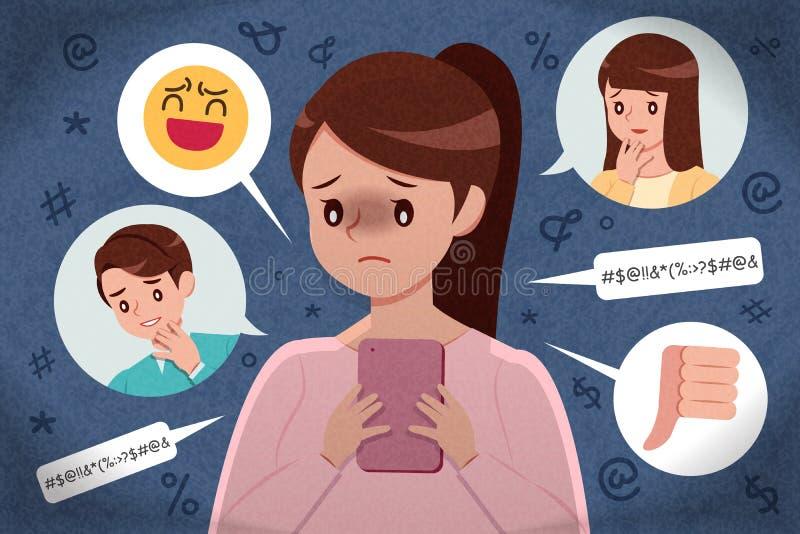 Ragazza triste che ottiene cyberbullismo illustrazione di stock