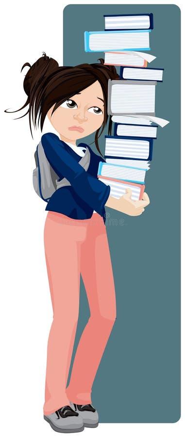 Ragazza triste che tiene una torretta dei libri royalty illustrazione gratis