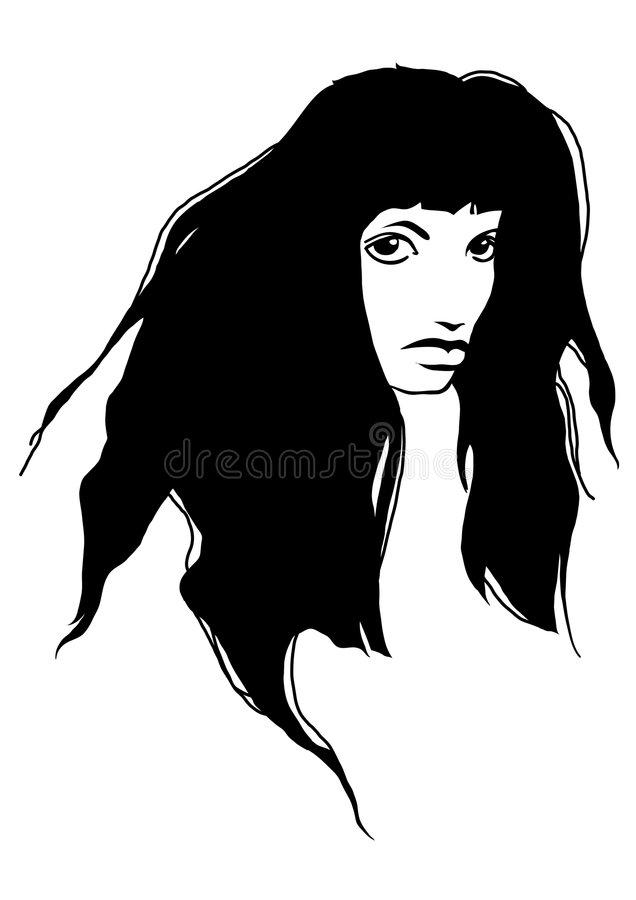 Ragazza triste del brunette illustrazione vettoriale