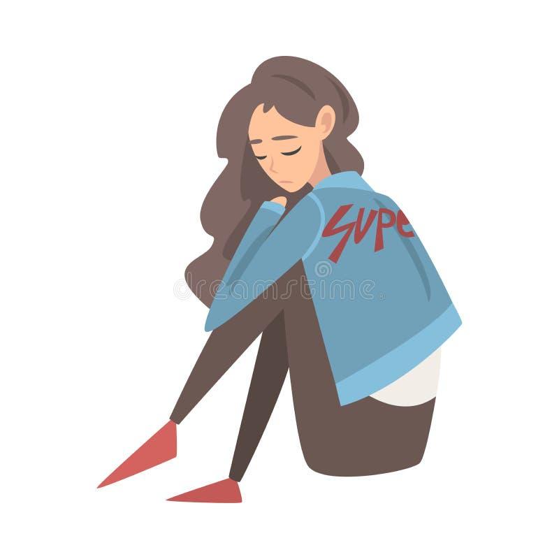 Ragazza triste infelice che si siede sul pavimento, adolescente depresso che ha problemi, Front View Vector Illustration illustrazione vettoriale