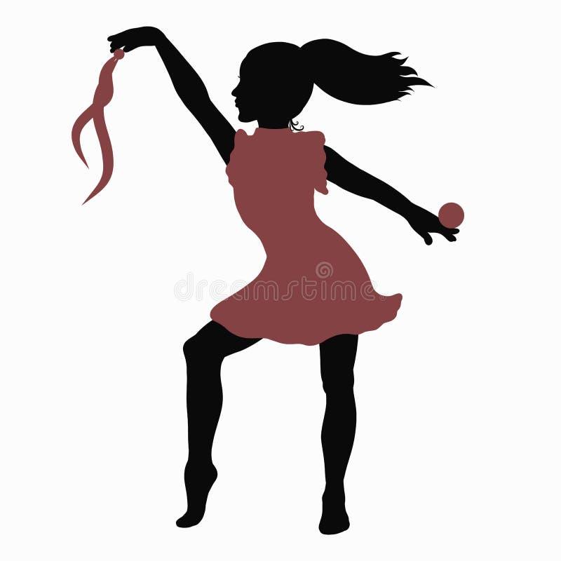 Ragazza in un bello movimento, con una palla e un nastro, performanc illustrazione vettoriale