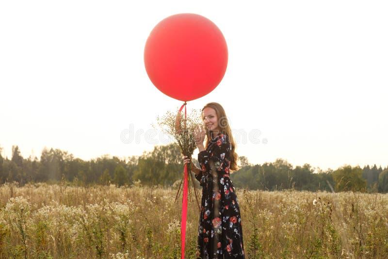 Ragazza in un bello vestito con i fiori con un pallone rosso su un guinzaglio nel campo al tramonto immagine stock libera da diritti