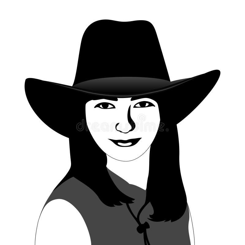 Ragazza in un cappello di cowboy illustrazione vettoriale