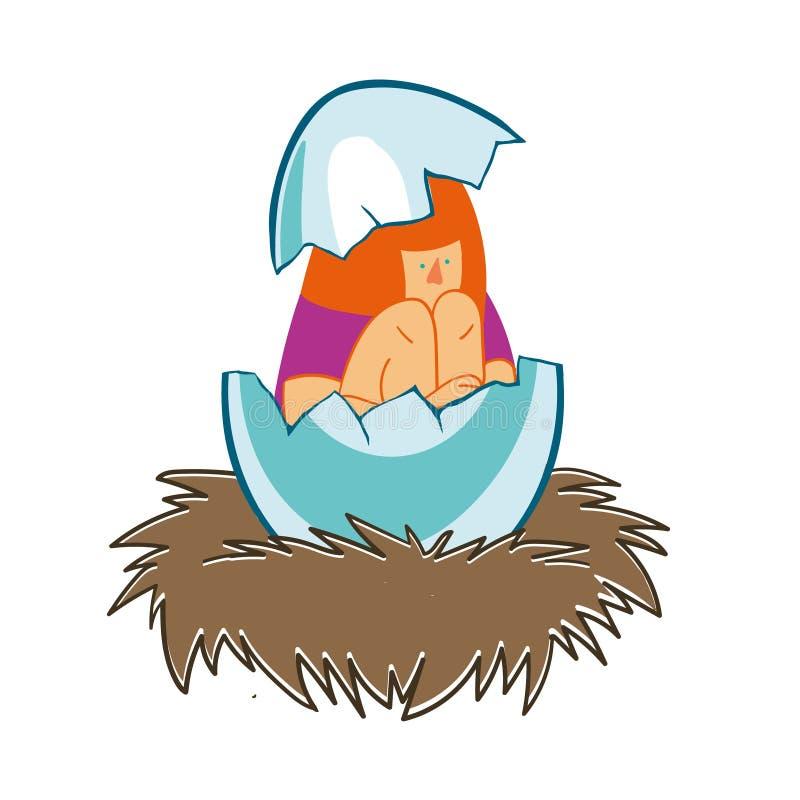 Ragazza in un guscio d'uovo nel nido illustrazione di stock