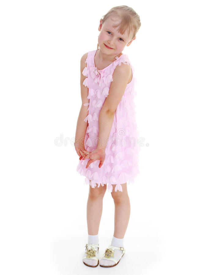 Ragazza in un vestito dentellare fotografie stock