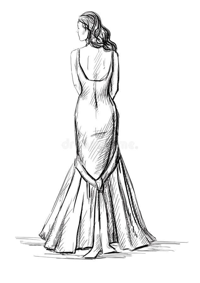 Ragazza in un vestito lungo illustrazione di stock