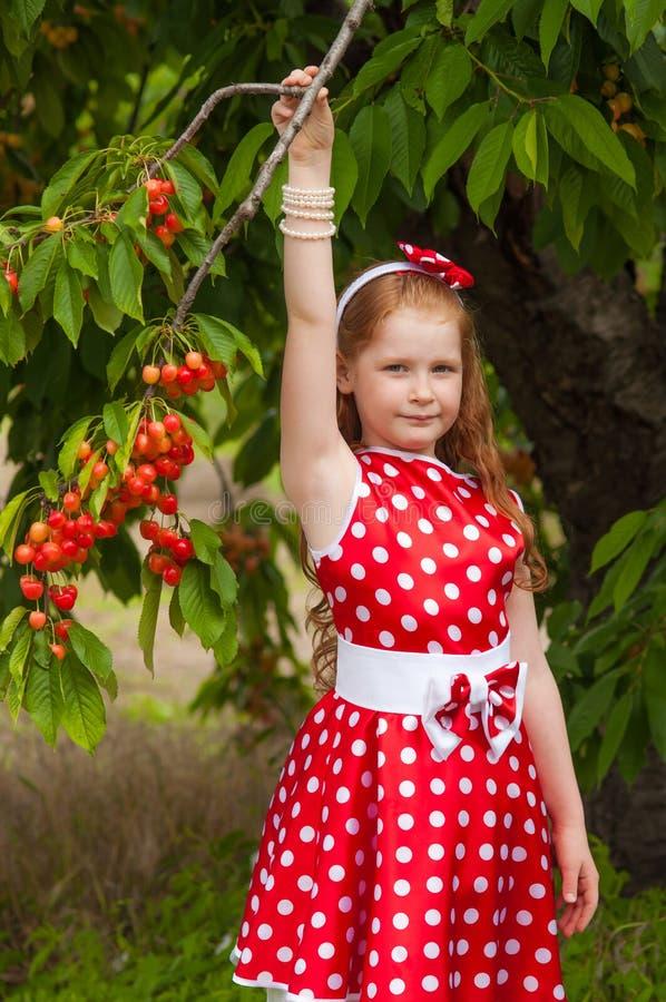Ragazza in un vestito nel giardino della ciliegia immagine stock