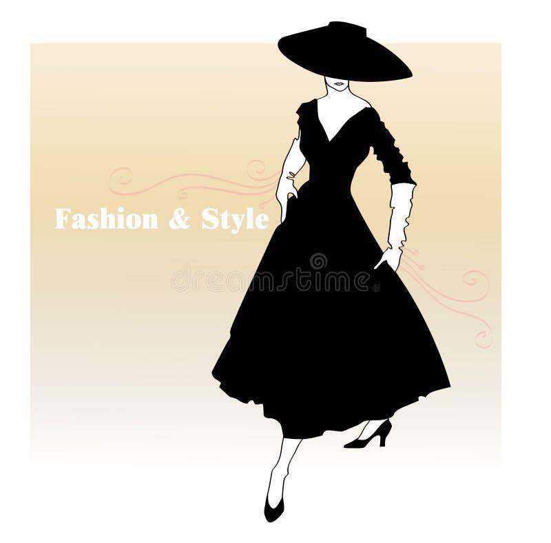 Ragazza in un vestito svasato illustrazione vettoriale