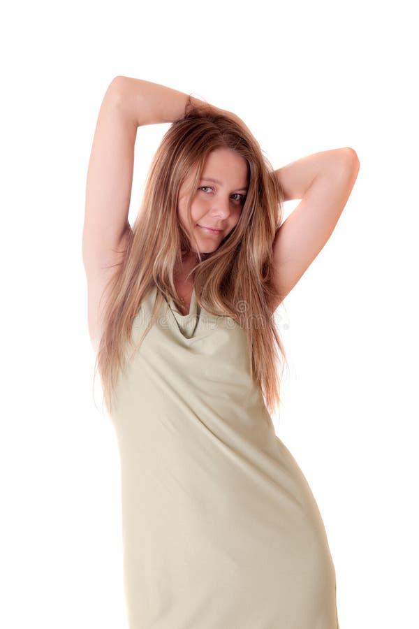 Ragazza in un vestito verde immagine stock libera da diritti