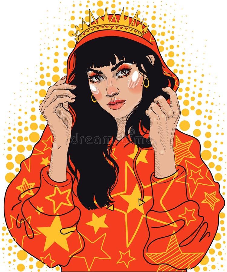 ragazza in una corona ed in un maglione con un cappuccio illustrazione di stock