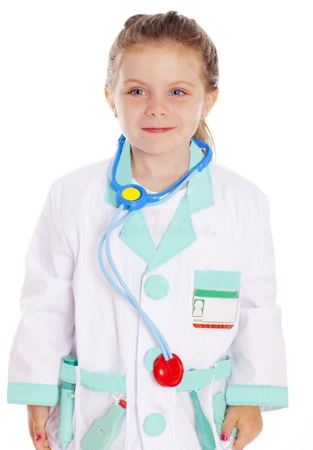 Ragazza vestita come medico fotografie stock