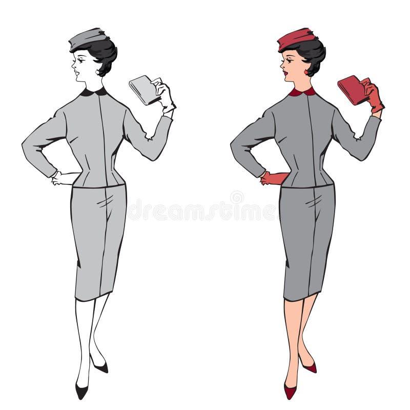 Ragazza vestita modo alla moda (stile degli anni 60 degli anni 50 illustrazione vettoriale