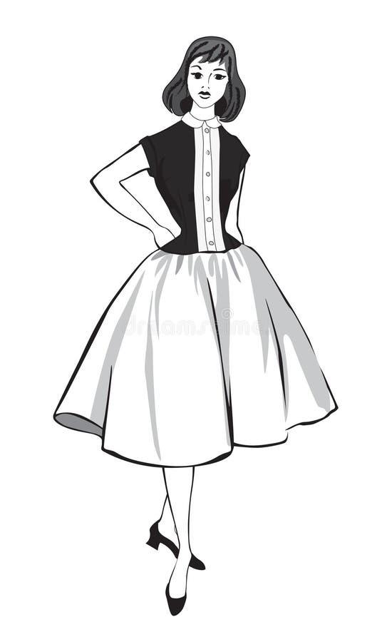 Ragazza vestita modo alla moda (stile degli anni 60 degli anni 50 royalty illustrazione gratis