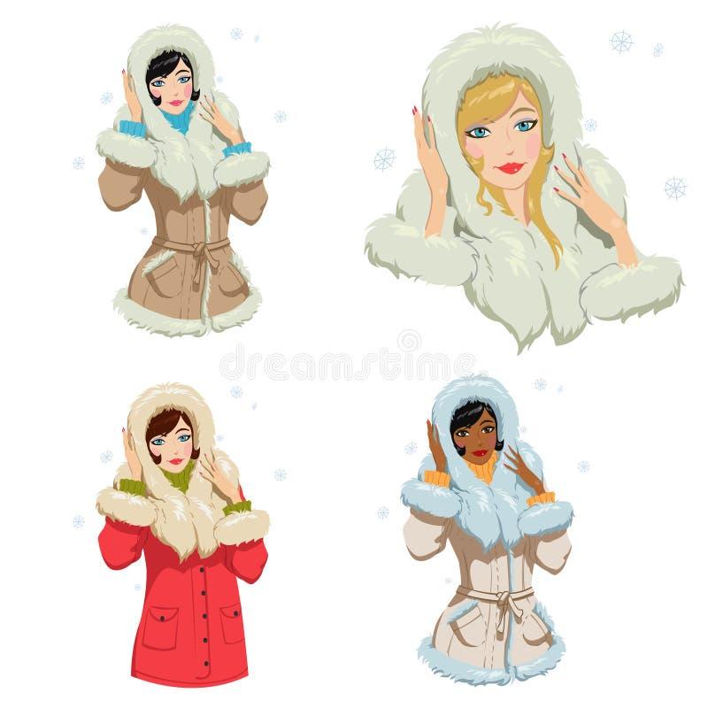 Ragazza in vestiti di inverno illustrazione vettoriale