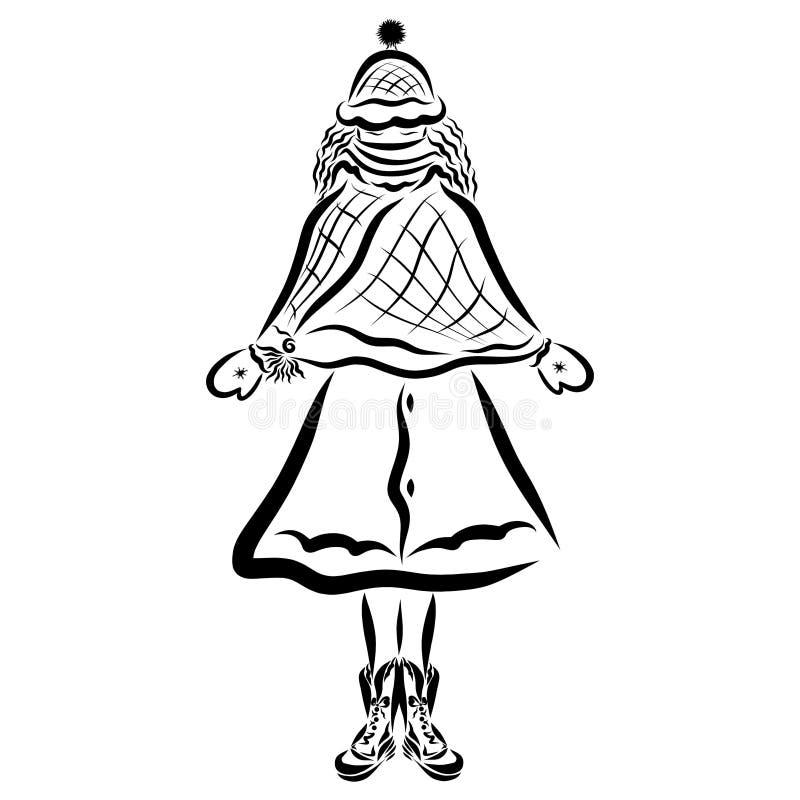 Ragazza in vestiti di inverno, molto freddo royalty illustrazione gratis