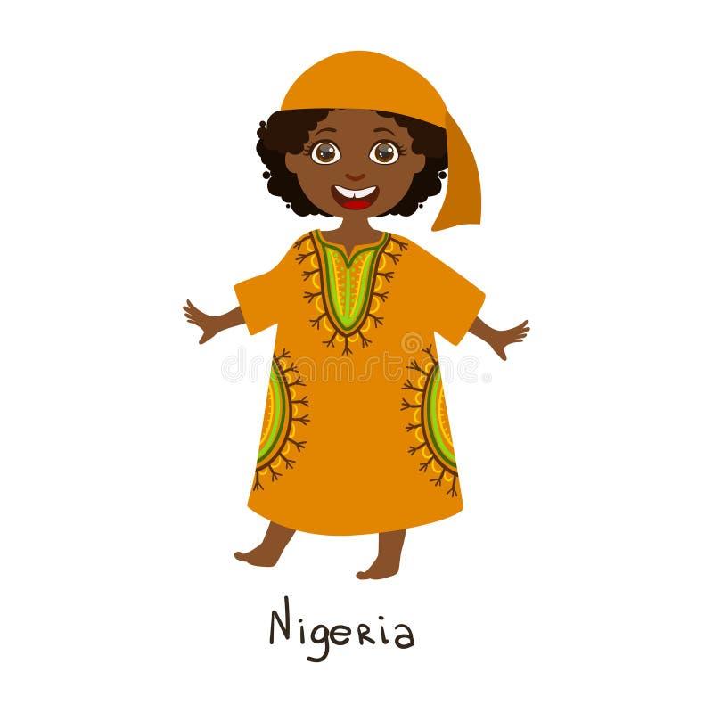 Ragazza in vestiti nazionali del paese della Nigeria, bandana arancio d'uso del ND del vestito tradizionale per la nazione illustrazione di stock