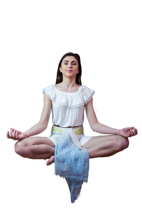 Ragazza in vestito bianco che galleggia in aria immagini stock libere da diritti