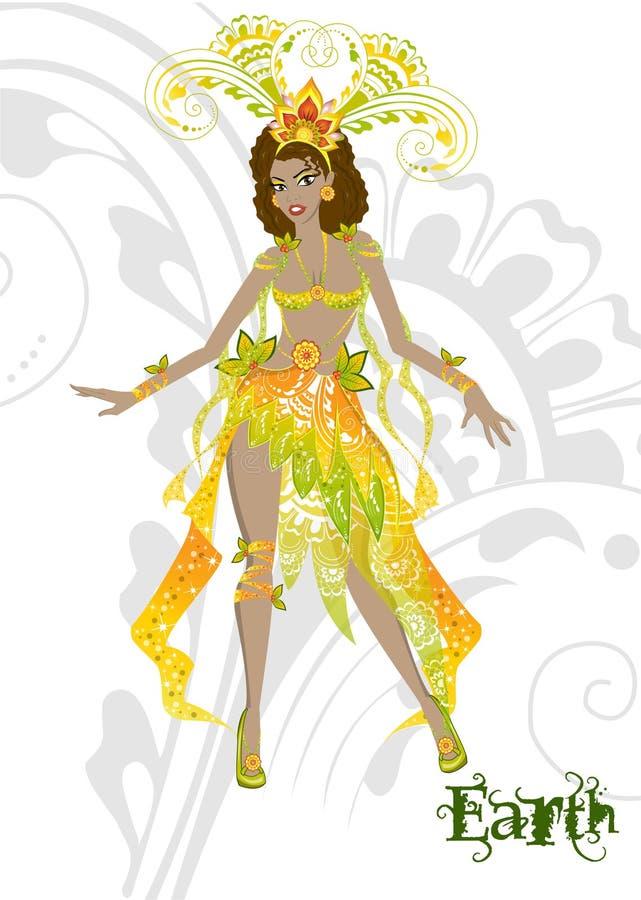 Ragazza in vestito da carnevale che rappresenta l'elemento della terra illustrazione vettoriale